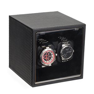 Doble cabezal de fibra de carbono automático reloj de cuero mecánico caja enrolladora rotador caja de almacenamiento reloj gabinete Remontoir