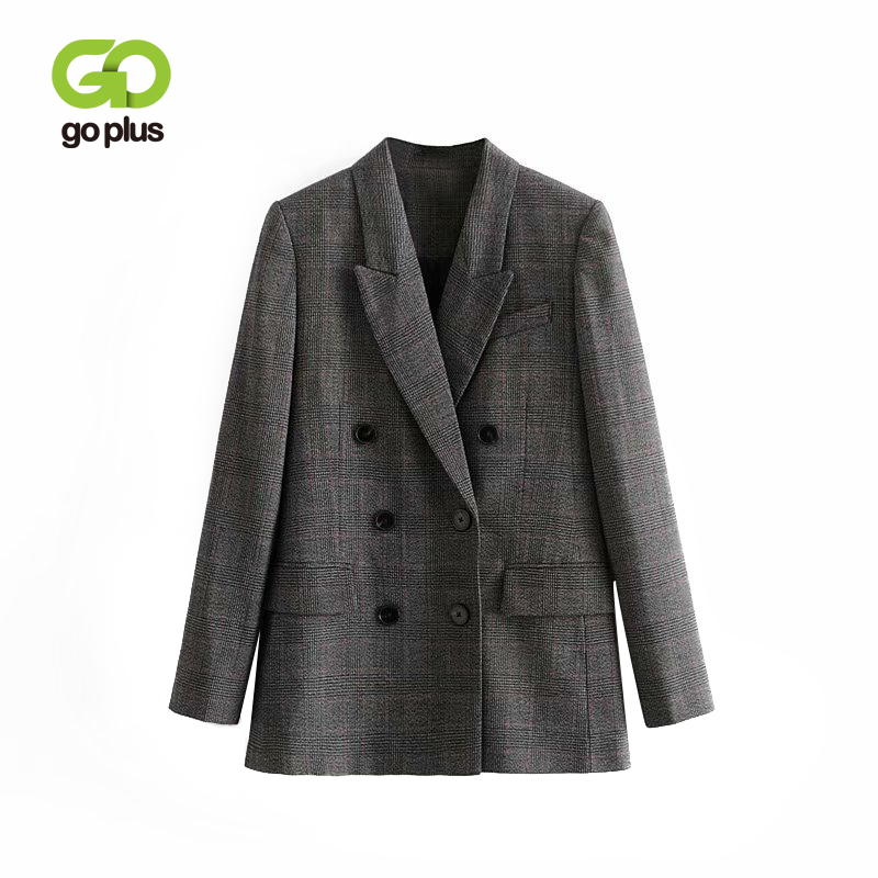 GOPLUS Fashion Double Breasted Plaid Blazer Women Long Sleeve Office Ladies Blazers 2019 Casual Autumn Winter Jacket