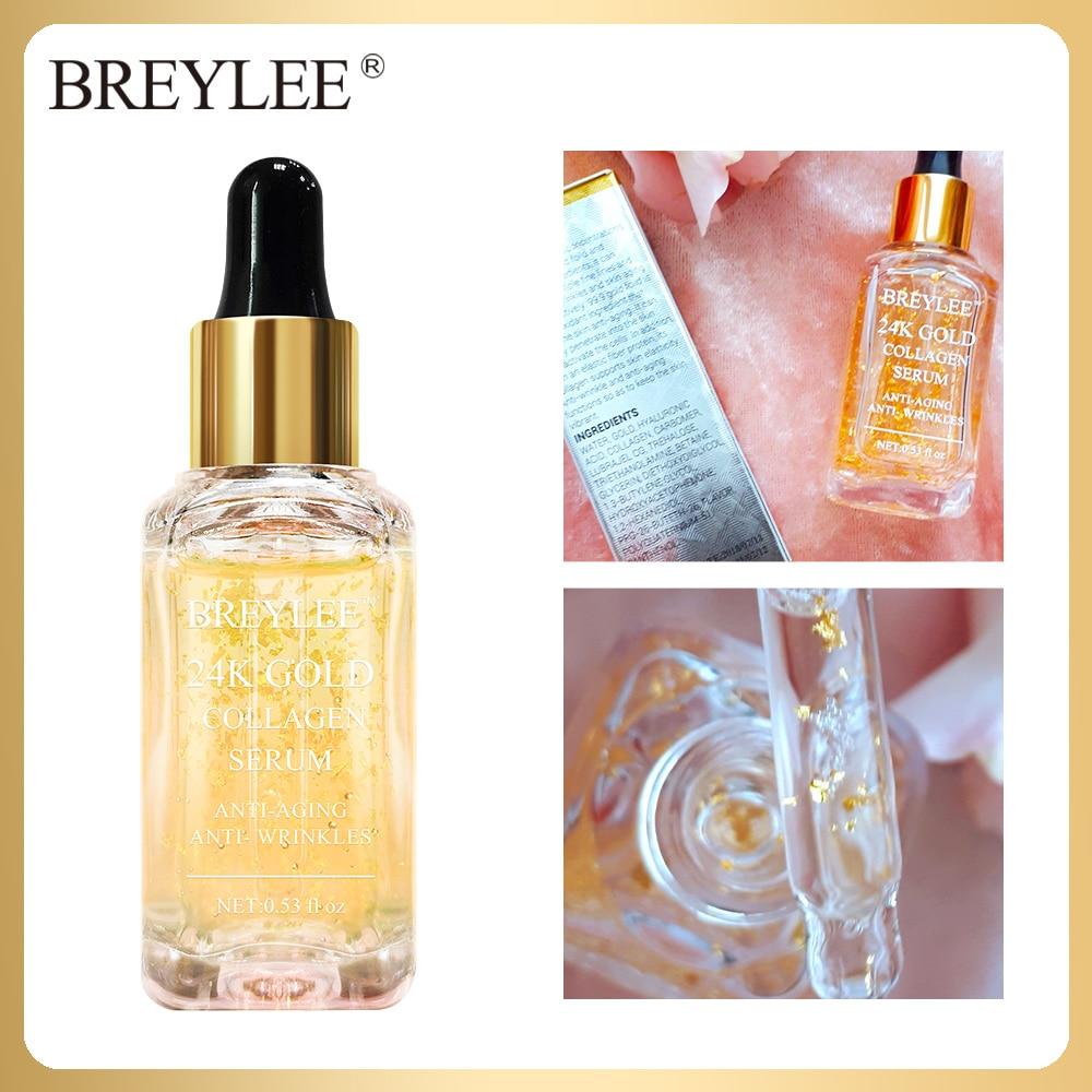 BREYLEE 24k Gold Serum Collagen Essence Anti-Aging Remove Wrinkles Face Skin Care Lifting Firming Whitening Repairing Serum 15ml