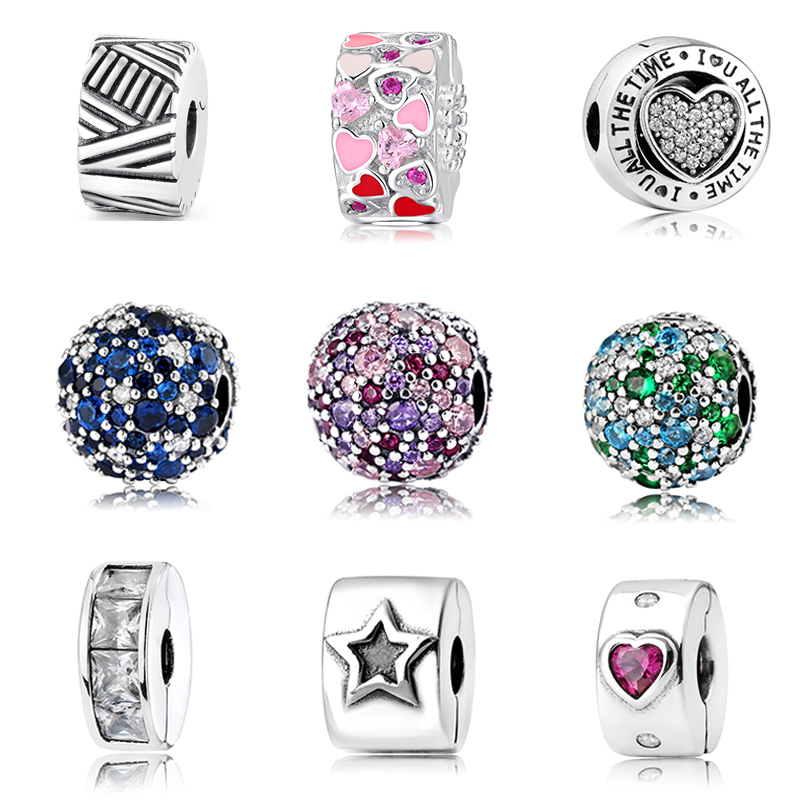 2019 Fashion Charms Round Clips lock Beads Real 925 Sterling Silver Bead Fit Original pandora Bracelet Bangles Jewelry making(China)