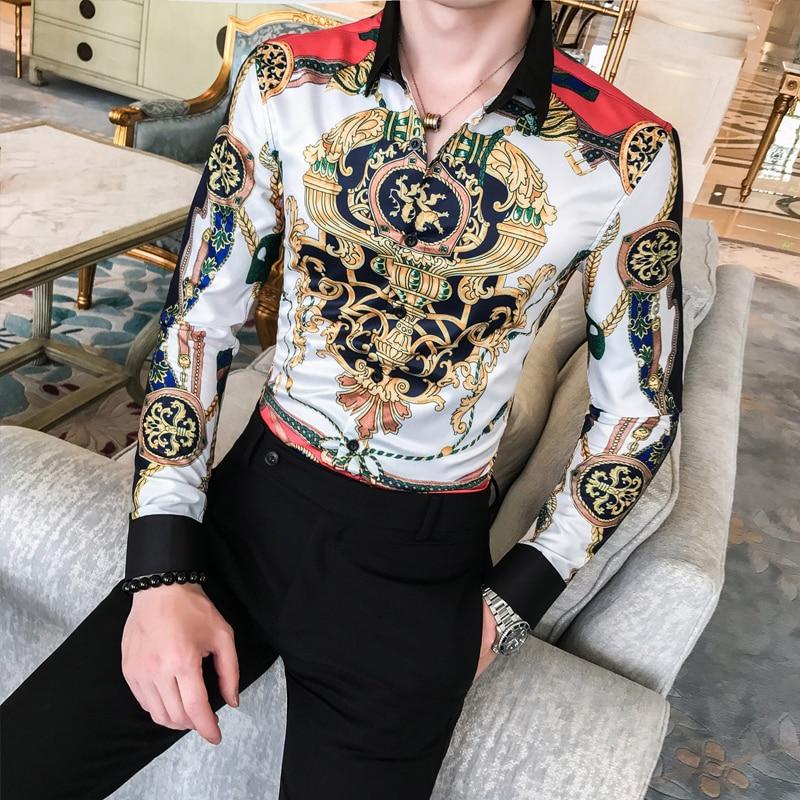 Barroco de luxo Camisa Dos Homens Camisas Para Homem Chemise Homme Camisas Dos Homens Camisas de Vestido Ocasional Camisa 2019 Outono De Luxo Fantasia Clube moda masculina