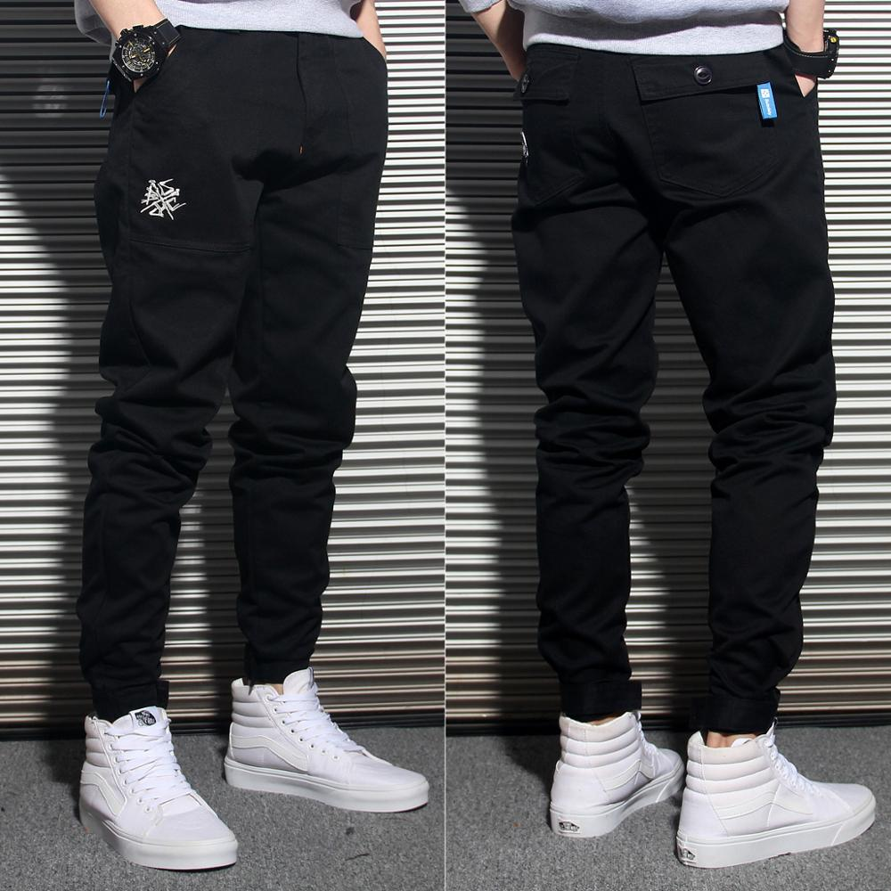 Japanese Style Fashion Men Jeans Loose Fit Black Khaki Green Color Harem Trousers Casual Cargo Pants Hip Hop Joggers Pants Men