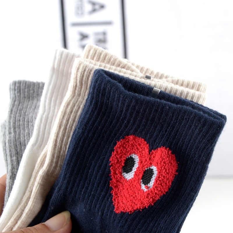 Pure Colors Loving Heart Print Calcetines Mujer ojo Otoño Invierno algodón calcetín lindo divertido dibujos animados dulce transpirable absorber la comodidad del sudor