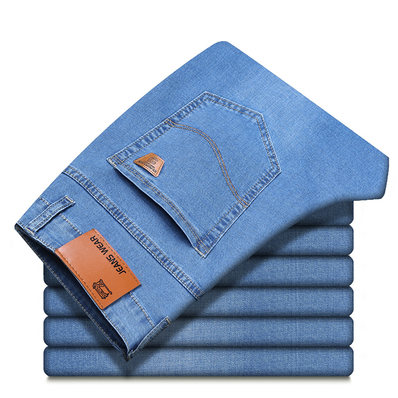 Three colors spring summer lightweight straight fit stretch jeans classic style business casual young men's thin denim jeans