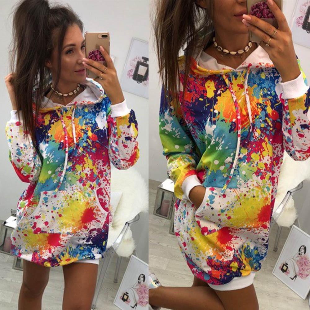 Plus Size Pocket Hoodies Sweatshirt Dress 2020 Autumn Long Sleeve Pullover Women's Dresses Fashion Loose Short Dress Vestido 3XL