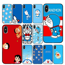 Doraemon Black Phone Cases for iPhone 5 5S SE 6 6s 7 8 Plus X XS Max XR Back Cover(China)