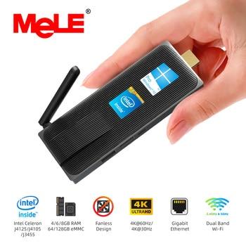Intel Celeron J4105 Quad Core 8GB 128GB J4125  J3455 4K Fanless Mini PC Windows 10 Pro MeLE PC Stick Mini Computer HDMI WiFi LAN
