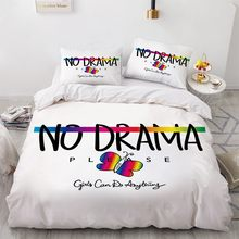 3D Custom Design Letter Quilt Cover Sets No Drama Comforther Covers Pillow Covers 200*230cm Full Twin King Size White Bedclothes