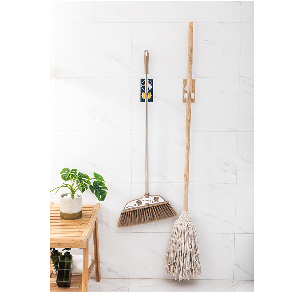 Strong Adhesive Mop Folder Wall Hanging Clip Transparent Mop Broom Hook Sucker