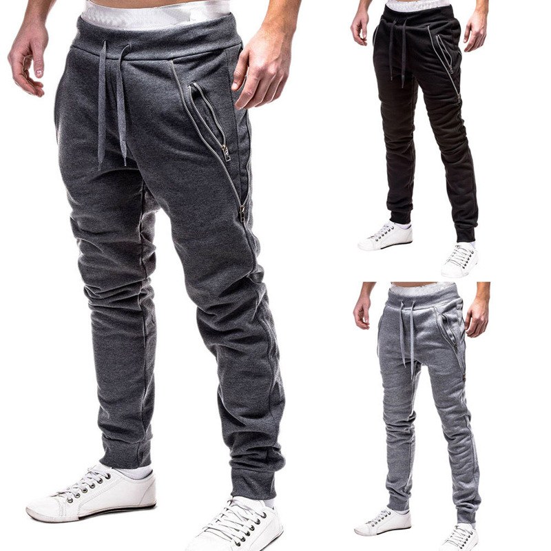 2019 Autumn And Winter New Style Men's Sweatpants Cool Zipper Decorations Men's Casual Loose-Fit MEN'S Sweat Pants Jogger