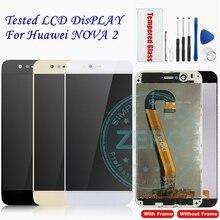 Pantalla LCD probada para Huawei Nova 2, Panel de pantalla táctil de marco para Huawei Nova2, piezas de repuesto de ensamblaje de pantalla LCD