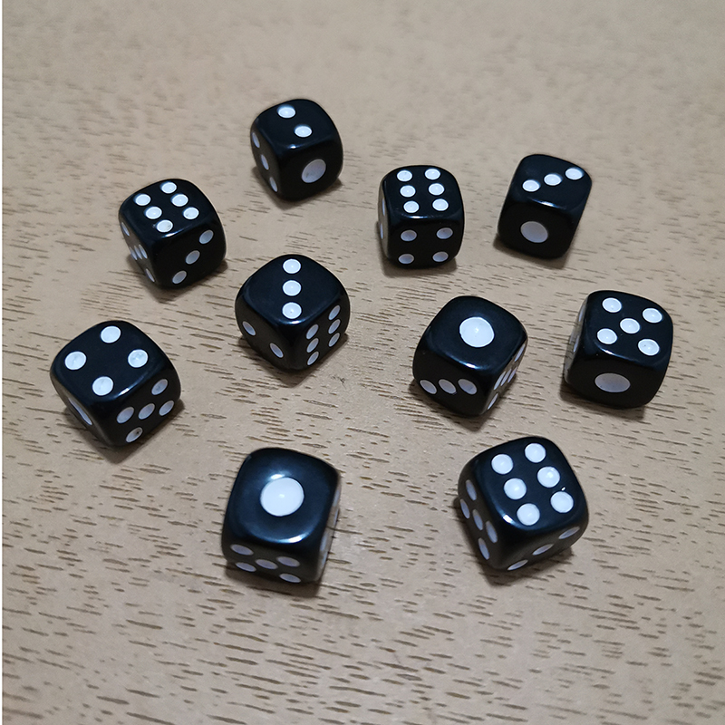 10PCS/Lot Black Dice Set Drinking Dice 10MM Acrylic Small Dyses Party Playing Cubes KTV Entertainment Game Digital Dices
