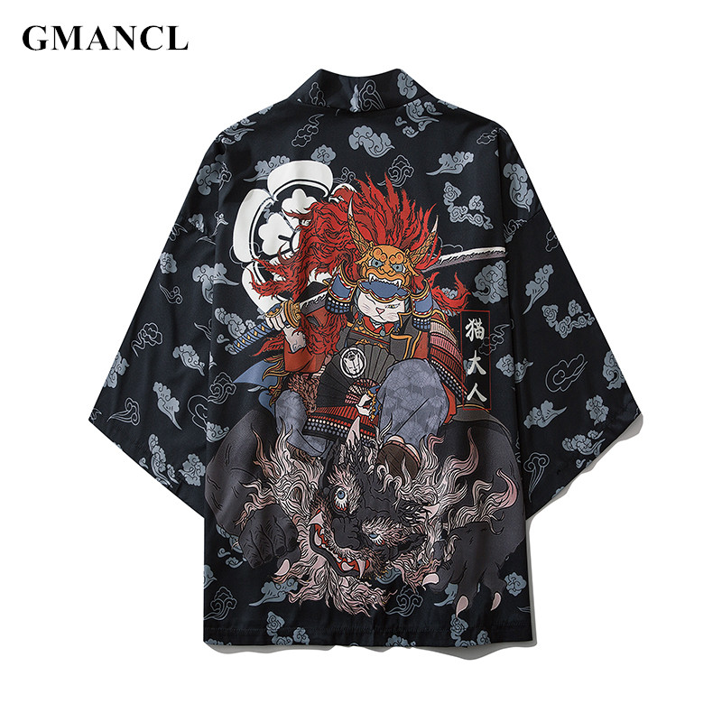 Men Streetwear summer printed Multiple colors Half sleeve Kimono Jackets Japanese Style Mens Casual thin Cardigan Outwear