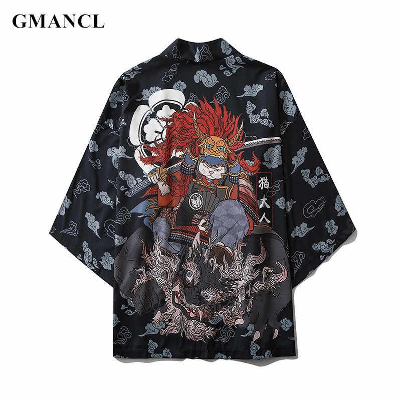 남성 Streetwear 여름 인쇄 여러 색상 하프 슬리브 기모노 자켓 일본식 남성 캐주얼 얇은 카디건 Outwear