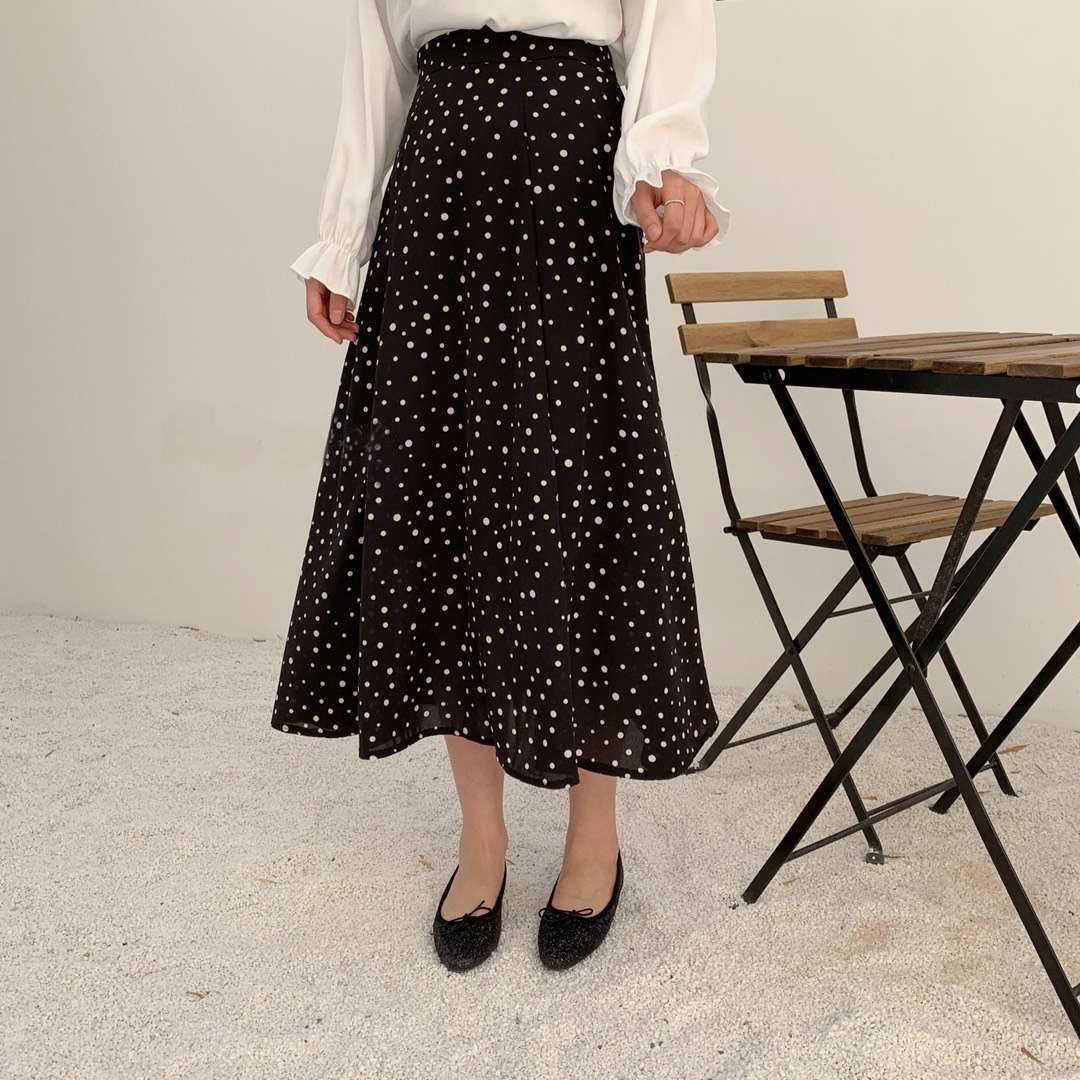 Saias de chiffon mulheres polka dot impressão midi saias preto branco coreano mulher a linha faldas streetwear