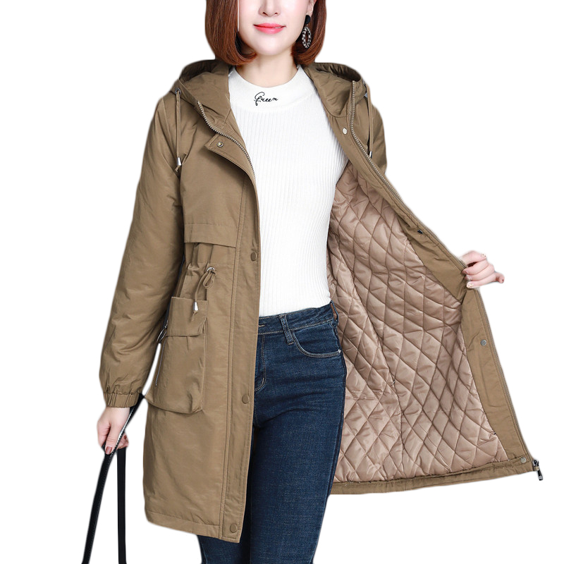 Осенне-зимняя новая стеганая теплая ветровка с подкладкой, женское длинное корейское свободное пуховое хлопковое пальто, женская парка с к...