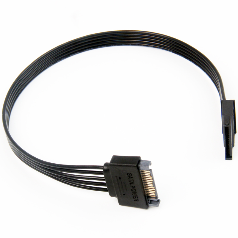 30CM 50CM 1M Black Single Sleeve SATA 15Pin Male To Female Power Extension Cable HDD SSD Power Cable SATA Cable