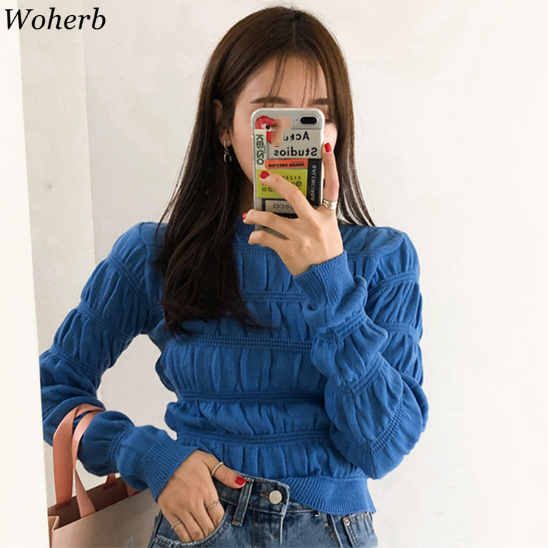 Woherb Women's Slim Knitted Pullover Sweater Korean 2020 Spring New O Neck Long Sleeve Knitwear Top Design Chic Pleated Jumper