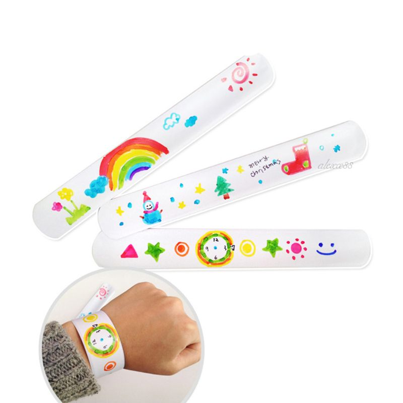 12 Pcs DIY Blank Slap Bracelets Party Favors Easter Gifts For Kids Art Craft Kindergarten