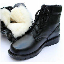 Natural Wool Black Men Winter Boots Leather Military Boots Men Size 10 Fashion Vintage Hightop Military Shoes New Mens Snowboots(China)