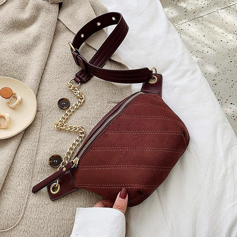 2020 Women Famous Brand Female Bags Waist Black Bag Women Waist Bag Suede Leather Shoulder Crossbody Chest HandBag