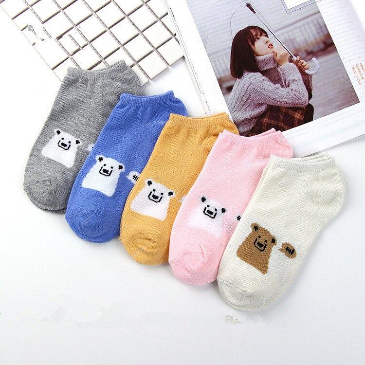 5 Pairs Summer Cartoon Cotton Thin Women Creative Casual Cotton Funny Bears Happy Sock For Female Cute Kawayi Girls Boat Socks