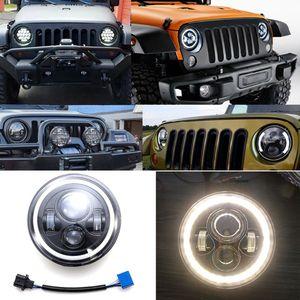 1 комплект Автомобильный 7-дюймовый светодиодный фонарь H4 H13 Янтарный ангельские глазки лампа для JEEP CJ JK TJ Wrangler Harley автомобильные аксессуары ...
