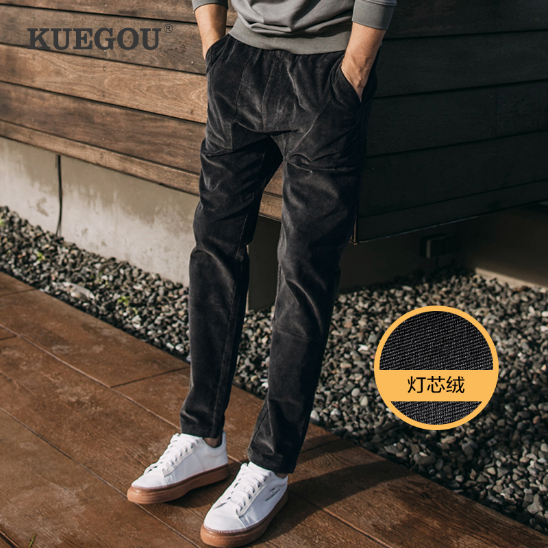 KUEGOU 98% Cotton 2% Spandex  Men Corduroy Pants Male Loose Casual Pants In Autumn Fashion Men's Pants Straight Type YK-1951