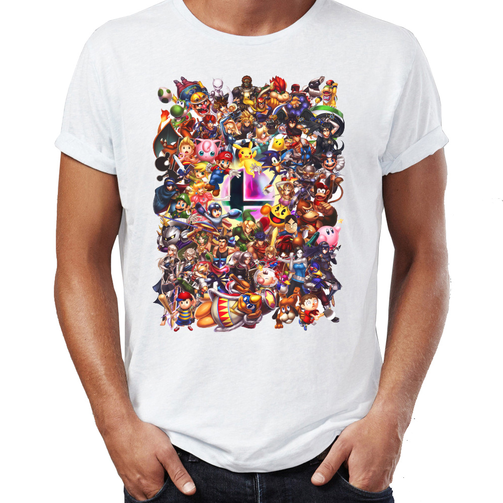 Men's T Shirt Super Smash Bros Link Kirby Samus Wario Illustration Artwork Printed Tee BASIC Custom Printed Clothing For Summer