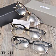 Nova iorque marca meia armação óculos para homem mulher thom tb711 quadrado semi sem aro óculos de prescrição óptica quadro