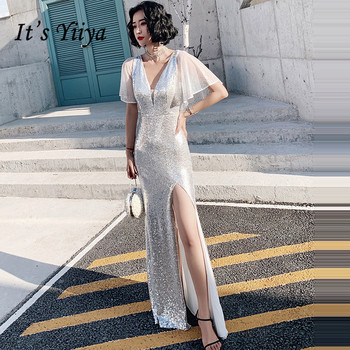 It's YiiYa Evening Dress Elegant Sliver V-neck Evening Dresses Meimaid Plus Size Formal Gown Sexy Split vestidos de fiesta LF101