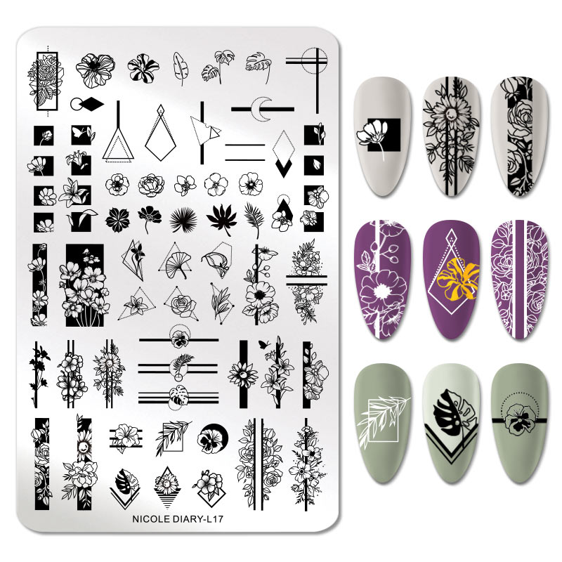 NICOLE DIARY Nail Stamping Plates Geomeric Flower Nail Art Printing Template Stainless Steel Nail Art Stencil Tools