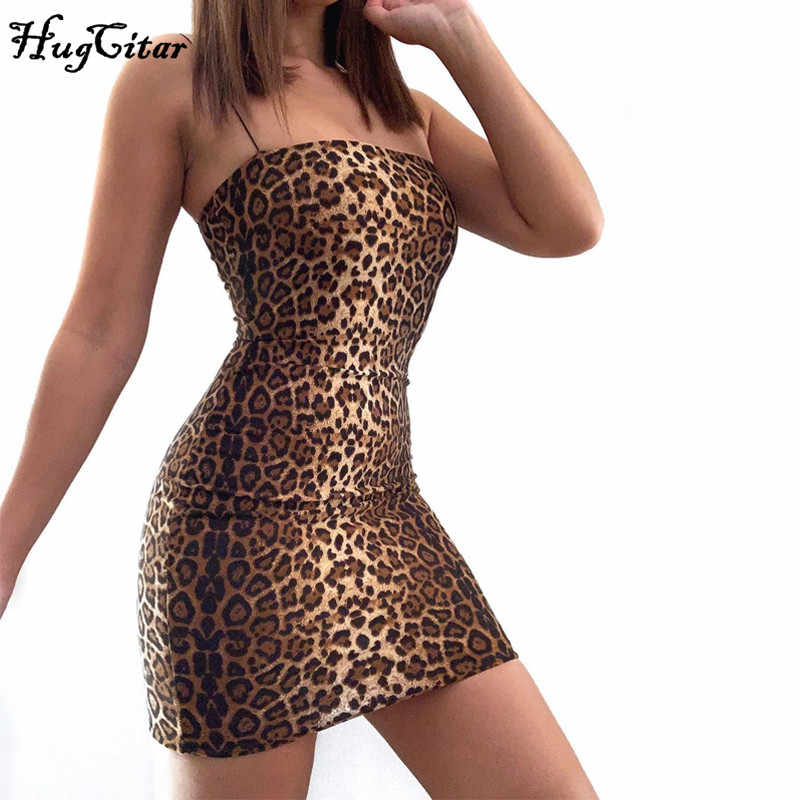 Hugcitar 2019 luipaard print slash hals mouwloze tube slip mini jurk herfst vrouwen party club bodycon outfits streetwear