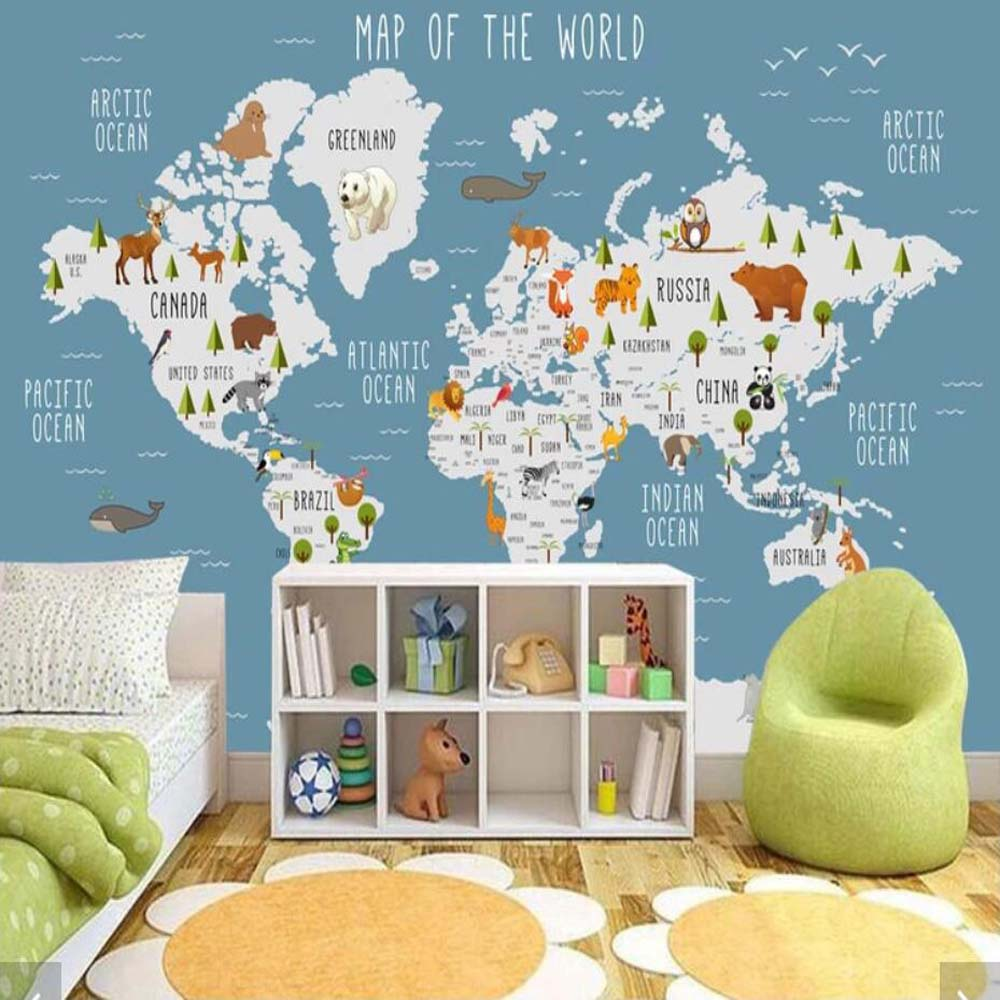 US $9.49 50% OFF 3D Carton Animal World Map Wallpaper Mural for Kids Room  Children Bedroom Vintage Wall Papers Home Decor Wall Papers Home Decor-in  ...