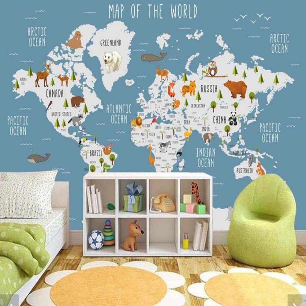 World map with wild animals Photo Mural Wallpaper GIANT WALL DECOR Free Glue