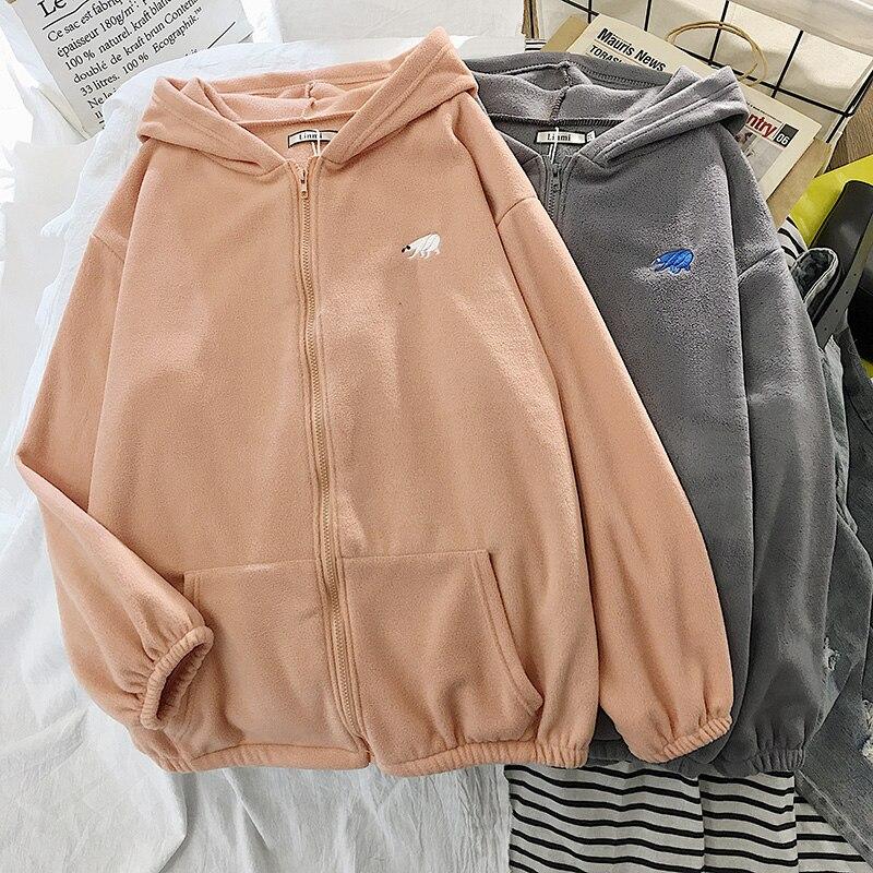 Plus Velvet Thick Hoodies Jacket Autumn Winter Korean Fashion Loose Lamb Imitation Plush Zipper Sweatshirt Jacket Women