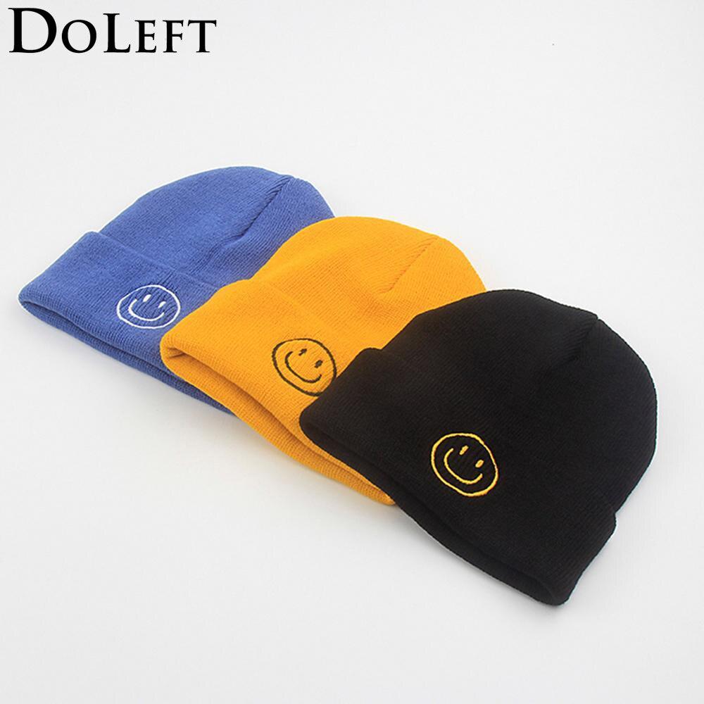 Fashion Smile Expression Embroidery Beanie Winter Hats Women Black Warm Ski Hat Outdoor Hip Hop Hats Men Knit Skullies Bonnet