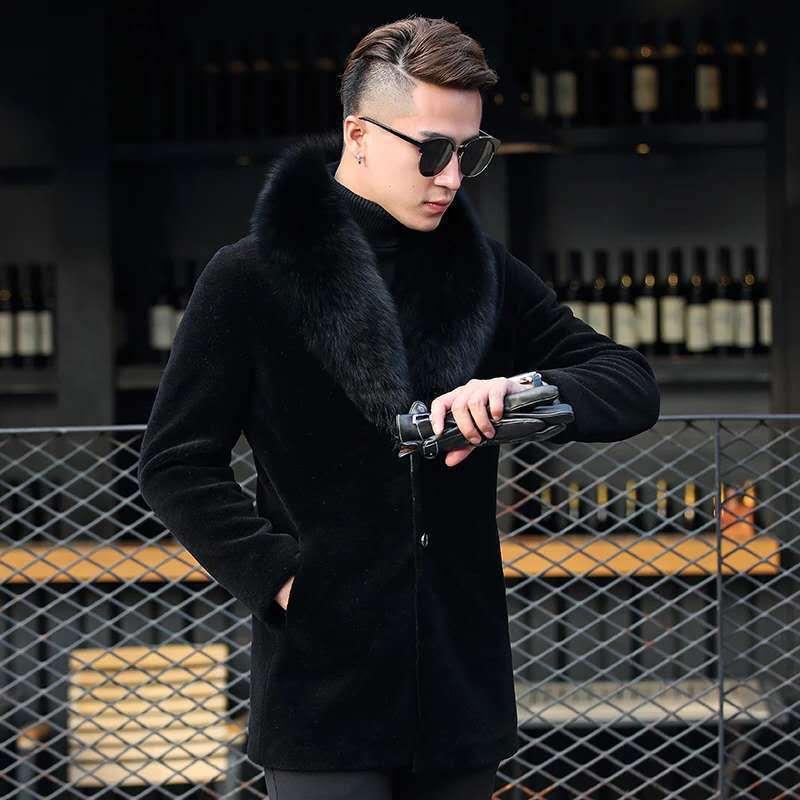 2020 Real Fur Coat Men Winter Sheep Shearing Wool Fur Jacket Korean Fox Fur Collar High Quality Fur Coats 801 KJ3714