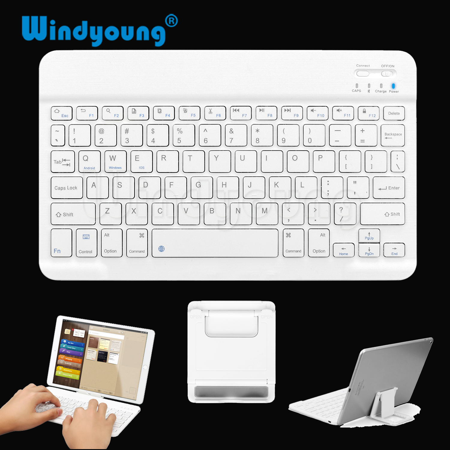 Ultra Slim Multimedia Aluminum Wireless Bluetooth Keyboard For IOS Android Tablet PC Windows For IPad Min Bluetooth Keyboard image
