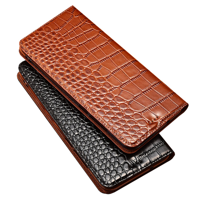 Case for Doogee N20 Crocodile pattern Genuine Leather Flip wallet Cover for Doogee Y8C Phone cases image