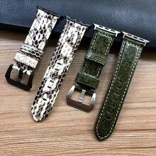 นาฬิกาสำหรับAppleนาฬิกาของแท้หนังงูสำหรับนาฬิกาApple Series 1 2 3 4นาฬิกาIWatch 38มม.40มม.42มม.44มม.