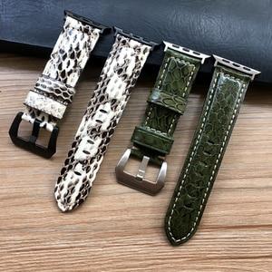 Image 1 - Uhr Band Für Apple Uhr Genuine Snake Skin Leder Uhr Strap Für Apple Serie 1 2 3 4 Uhrenarmbänder iWatch 38mm 40mm 42mm 44mm