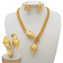 Mirafeel Dubai Jewelry Sets Big Necklace Sheep Head Shape Bracelet Earrings For Women Wedding Jewelry Sets for Bride