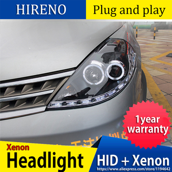 Car styling case for Nissan Tiida headlights 2008-2010 Tiida Headlights LED Headlight DRL Lens Double Beam HID