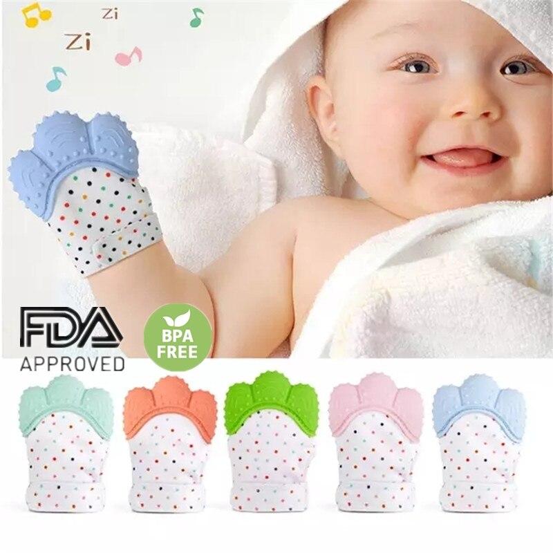 Bebê silicone luvas dentição luva de som mordedor recém nascido mastigável enfermagem luvas mordedor natural parar de sucção brinquedo polegar|Mordedores p/ bebê|   -