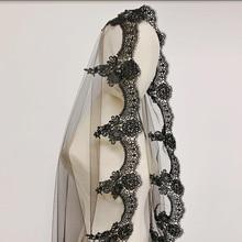 Black Lace Hem Halloween Wedding Veil One Layer Wedding