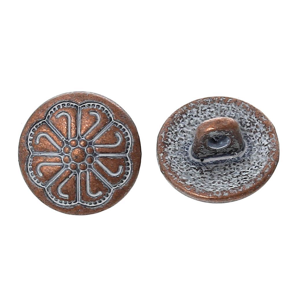 Round Button 50pcs Flower Pattern Metal Button Vintage Style Clothing Button