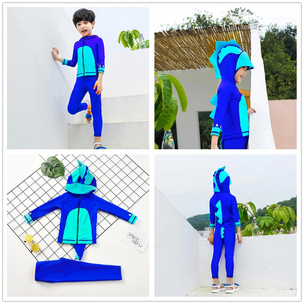 Swimwear Bathing-Suit Dinosaur Long-Sleeve Kids Beach Cute Boys Surf-Costume Uv-Protection