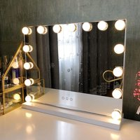Large Hollywood Makeup Vanity Mirror with Lights Plug in Light up Professional Mirror with Removable 10x Magnification 3 Color