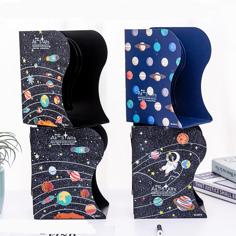 Universe Starry Sky Series Retractable Bookends Metal Desk Book Holder Desks Organizer Office School Home Bookshelf Stationery
